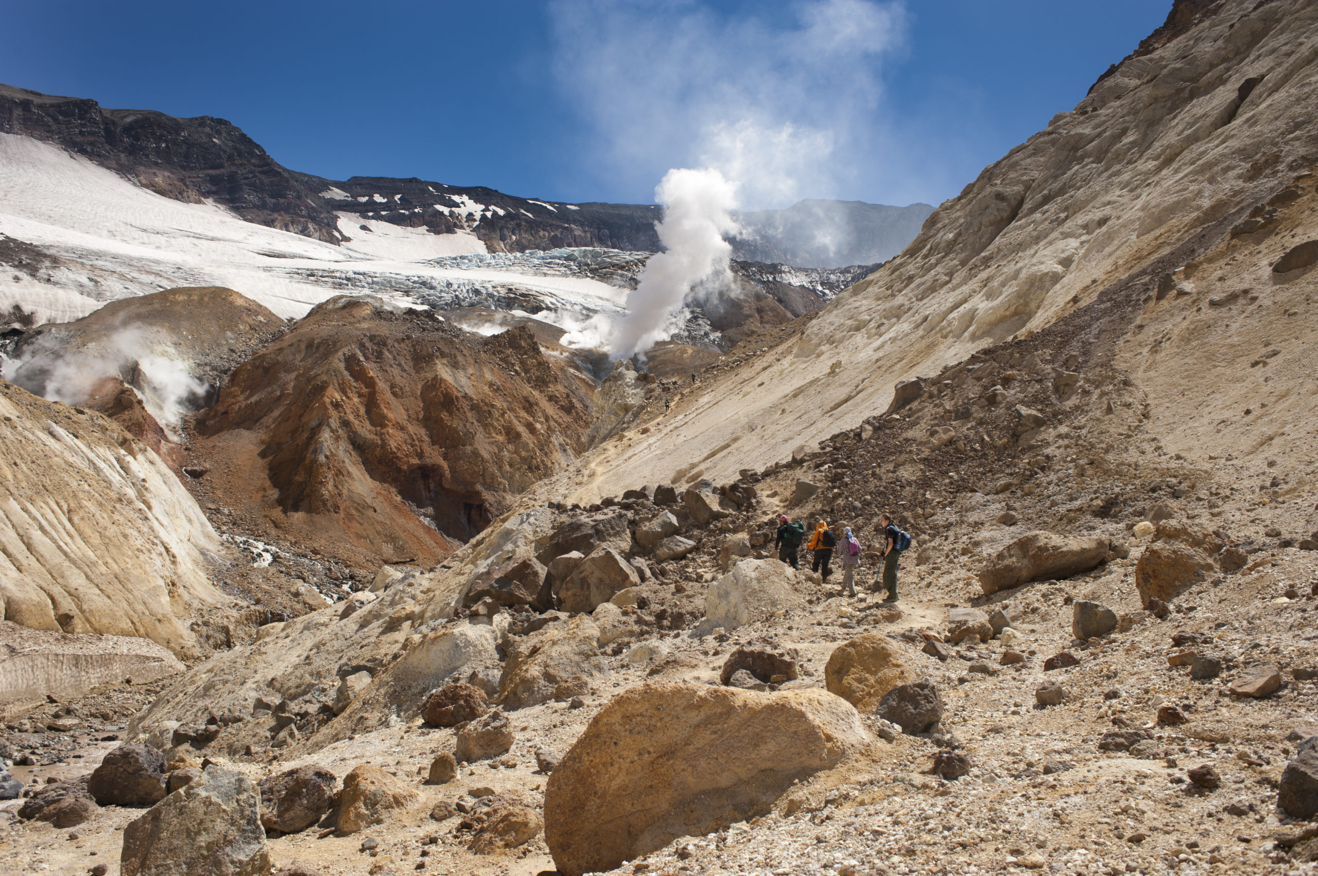 In the crater of Mutnovsky volcano: the Kingdom of clay, ice, steam and acids